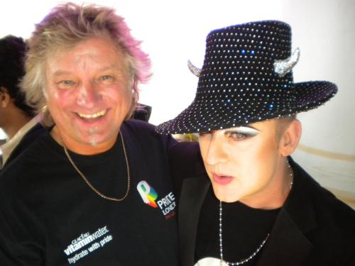 Barry with Boy George